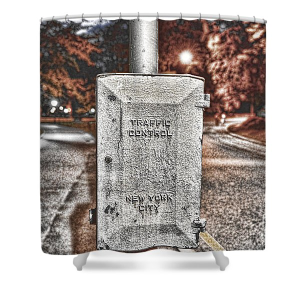 Traffic Control Box Shower Curtain by Paul Ward