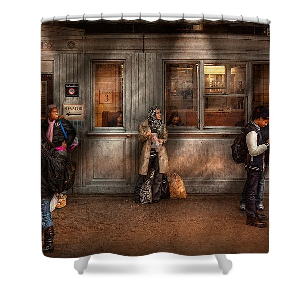 Train - Station - Waiting For The Next Train Shower Curtain by Mike Savad