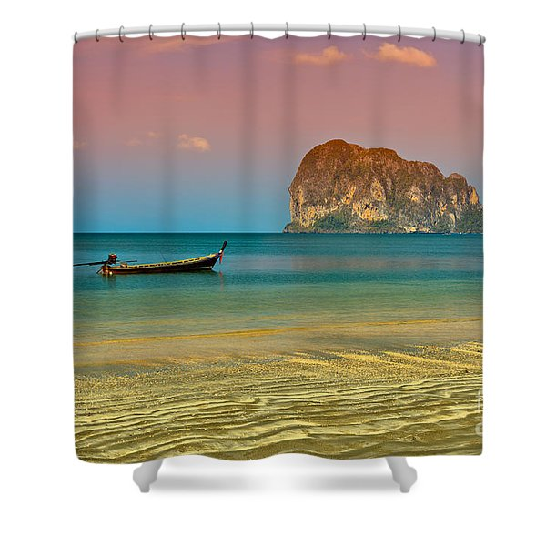 Trang Longboat Shower Curtain by Adrian Evans