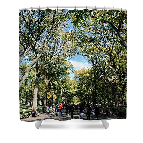 TREES on the MALL in CENTRAL PARK Shower Curtain by ROB HANS