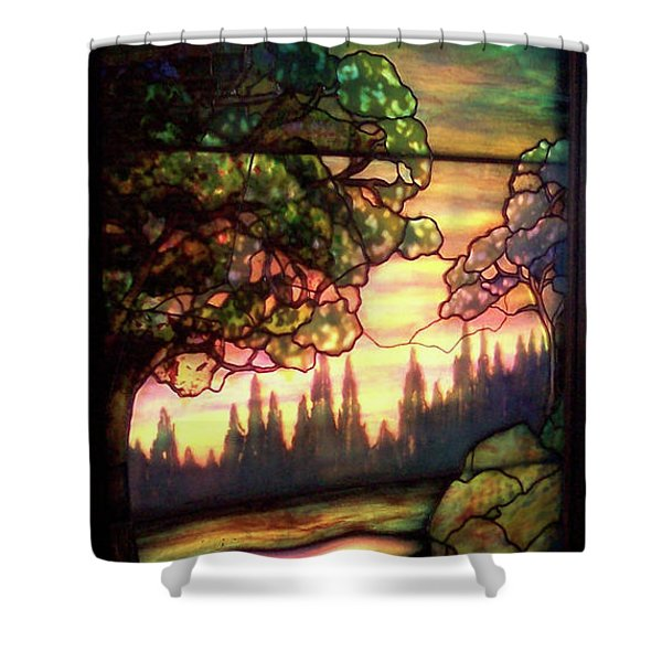 Trees Stained Glass Window Shower Curtain by Thomas Woolworth