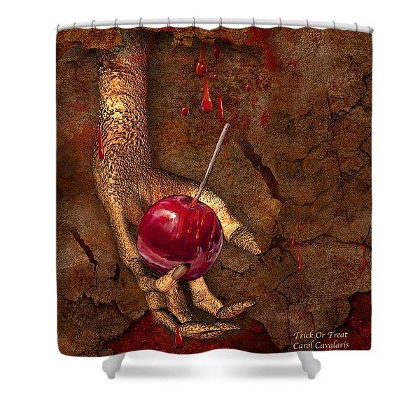 Trick Or Treat Shower Curtain by Carol Cavalaris