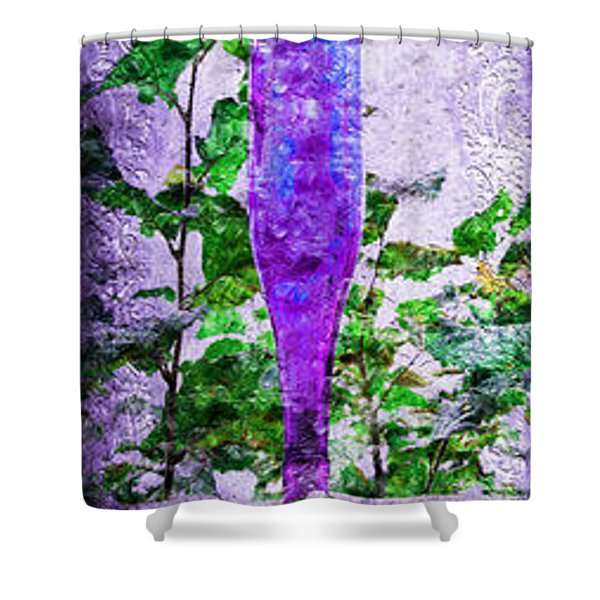 Triptych Cobalt Blue Purple And Magenta Bottles Triptych Vertical Shower Curtain by Andee Design