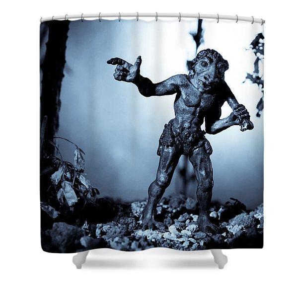 Troll Strolling On Moonlight Shower Curtain by Marc Garrido
