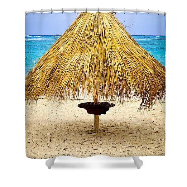 Tropical beach umbrella Shower Curtain by Elena Elisseeva