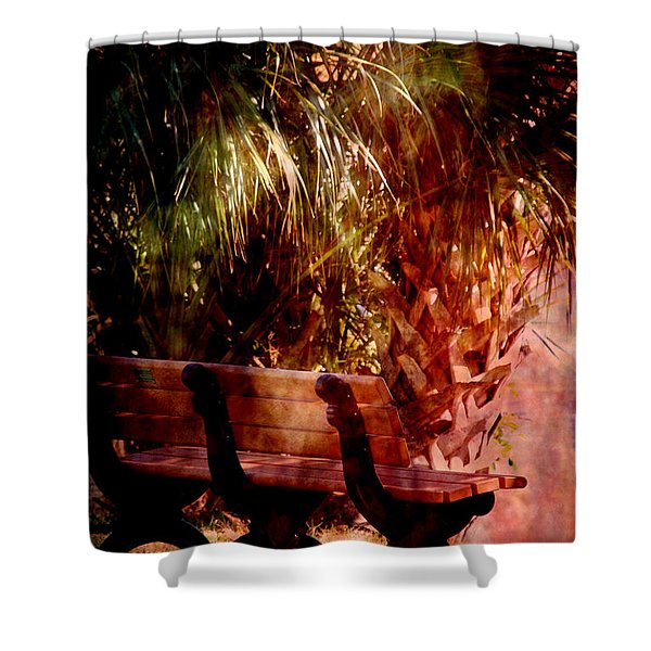 Tropical Bench Shower Curtain by Susanne Van Hulst