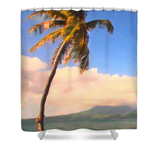 Tropical Island 2 - Painterly Shower Curtain by Wingsdomain Art and Photography