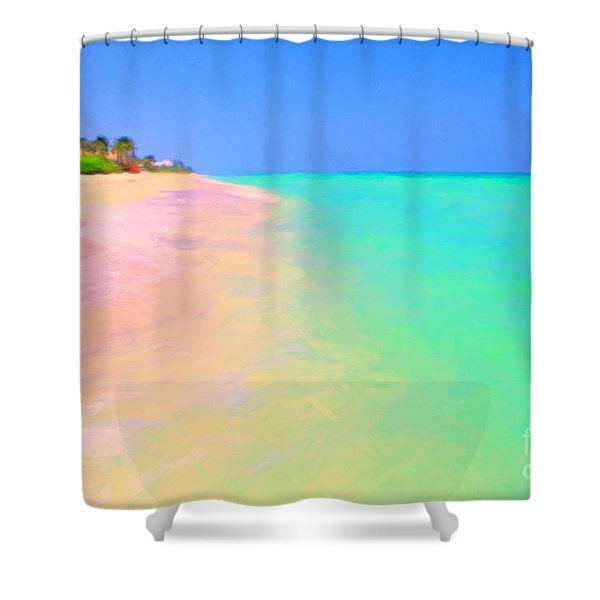 Tropical Island 7 - Painterly Shower Curtain by Wingsdomain Art and Photography