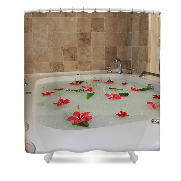 Tub of Hibiscus Shower Curtain by Shane Bechler
