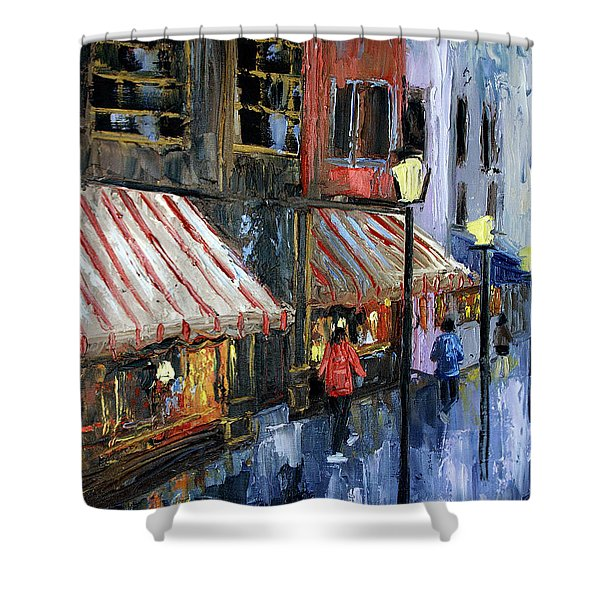 Twelve Street And Rine Shower Curtain by Anthony Falbo