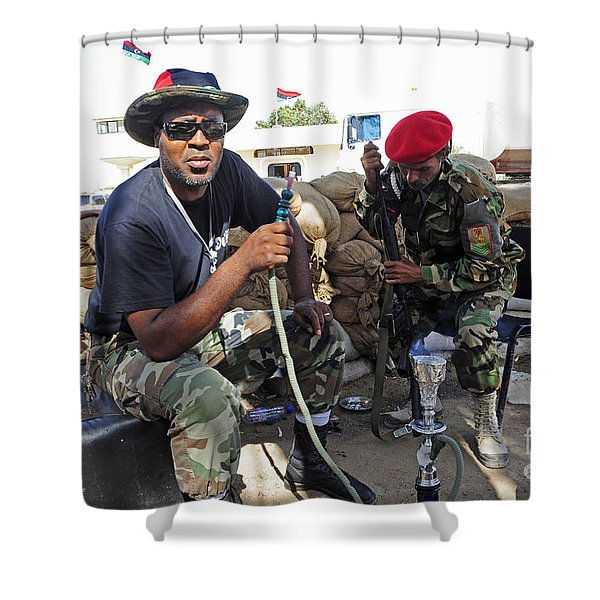 Two Rebel Fighters Man A Checkpoint Shower Curtain by Andrew Chittock