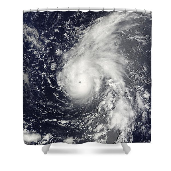 Typhoon Vamco In The Pacific Ocean Shower Curtain by Stocktrek Images