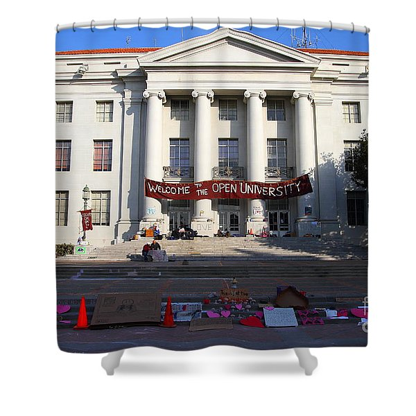 UC Berkeley . Sproul Hall . Sproul Plaza . Occupy UC Berkeley . 7D10017 Shower Curtain by Wingsdomain Art and Photography