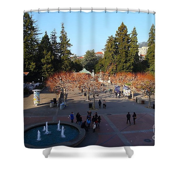 Uc Berkeley . Sproul Hall . Sproul Plaza . Sather Gate And Sather Tower Campanile . 7d10003 Shower Curtain by Wingsdomain Art and Photography