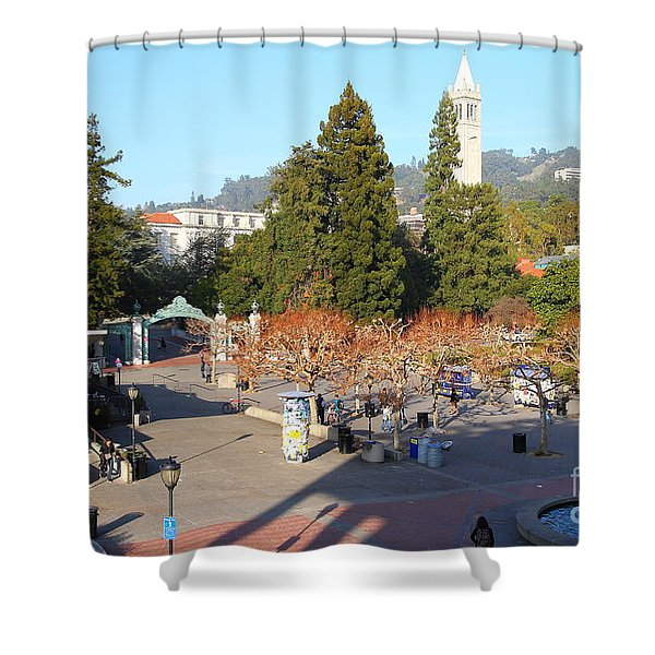 Uc Berkeley . Sproul Hall . Sproul Plaza . Sather Gate And Sather Tower Campanile . 7d10016 Shower Curtain by Wingsdomain Art and Photography