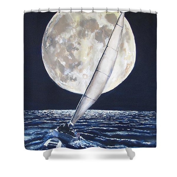 Under Full Sail..Under Full Moon Shower Curtain by Jack Skinner