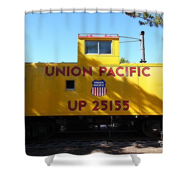 Union Pacific Caboose - 5D19206 Shower Curtain by Wingsdomain Art and Photography