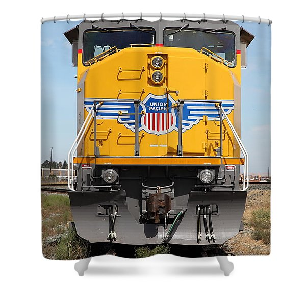 Union Pacific Locomotive Train - 5d18636 Shower Curtain by Wingsdomain Art and Photography