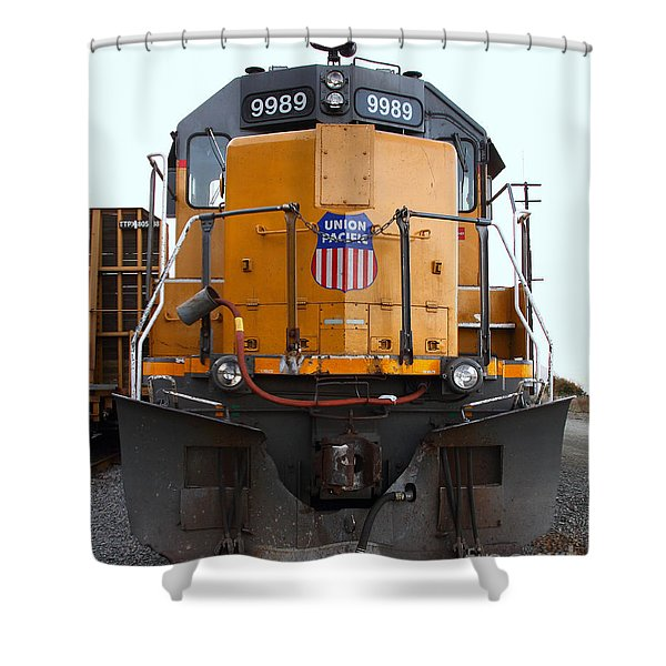 Union Pacific Locomotive Trains . 7D10589 Shower Curtain by Wingsdomain Art and Photography