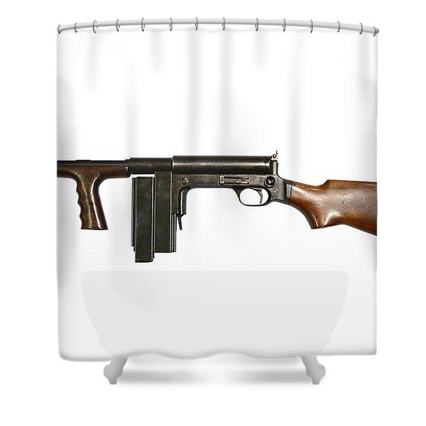 United Defense M42 Submachine Gun Shower Curtain by Andrew Chittock