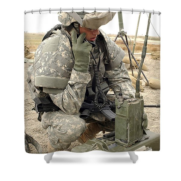 U.s. Army Soldier Performs A Radio Shower Curtain by Stocktrek Images