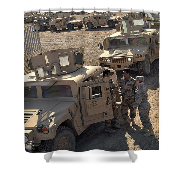 U.s. Army Soldier Speaks With Iraqi Shower Curtain by Stocktrek Images
