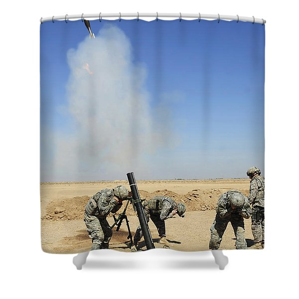 U.s. Army Soldiers Firing An M120 120mm Shower Curtain by Stocktrek Images