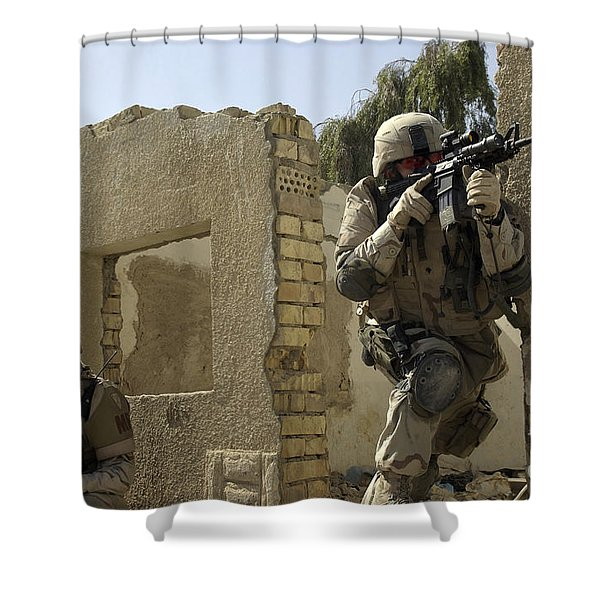 U.s. Army Soldiers Reacting To Small Shower Curtain by Stocktrek Images