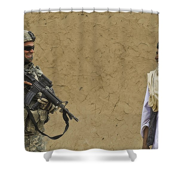 U.s. Army Specialist Talks To An Afghan Shower Curtain by Stocktrek Images