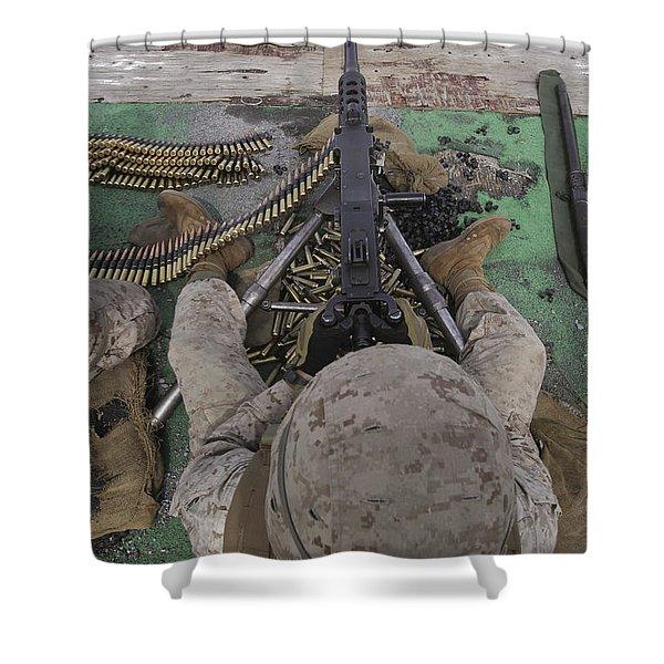 U.s. Marine Fires An M2 .50-caliber Shower Curtain by Stocktrek Images