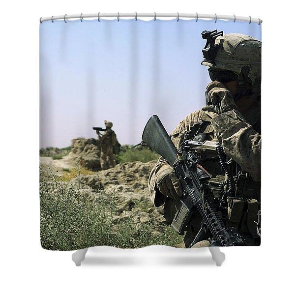 U.s. Marine Uses A Radio Shower Curtain by Stocktrek Images