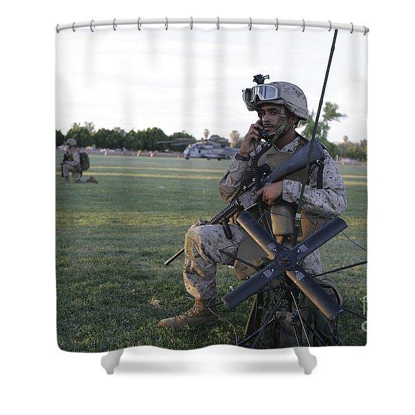 U.s. Marine Utilizes A Satellite Radio Shower Curtain by Stocktrek Images