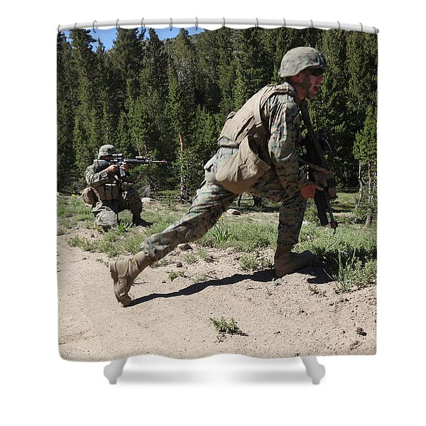 U.s. Marines Training At The Mountain Shower Curtain by Stocktrek Images