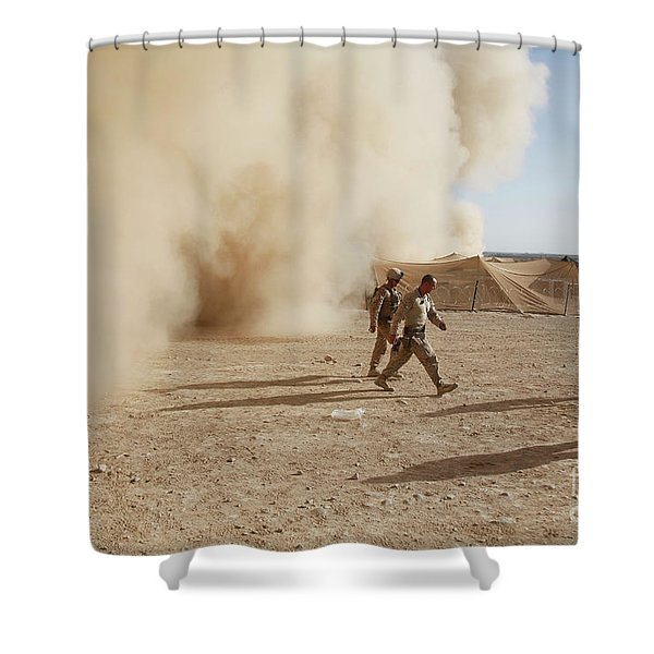 U.s. Marines Walk Away From A Dust Shower Curtain by Stocktrek Images