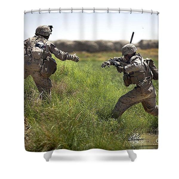 U.s. Navy Petty Officer Extends Shower Curtain by Stocktrek Images