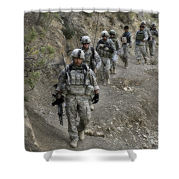 U.s. Soldiers And Afghan Border Shower Curtain by Stocktrek Images