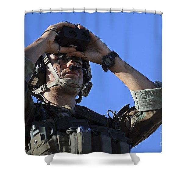 U.s. Special Operations Soldier Looks Shower Curtain by Stocktrek Images