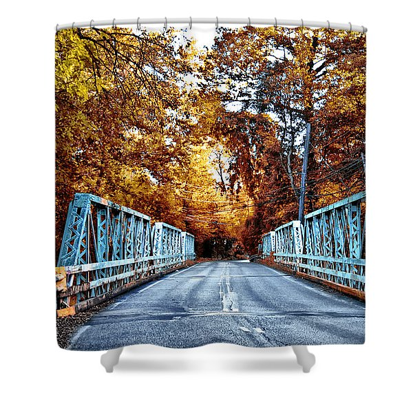 Valley Green Road Bridge in Autumn Shower Curtain by Bill Cannon