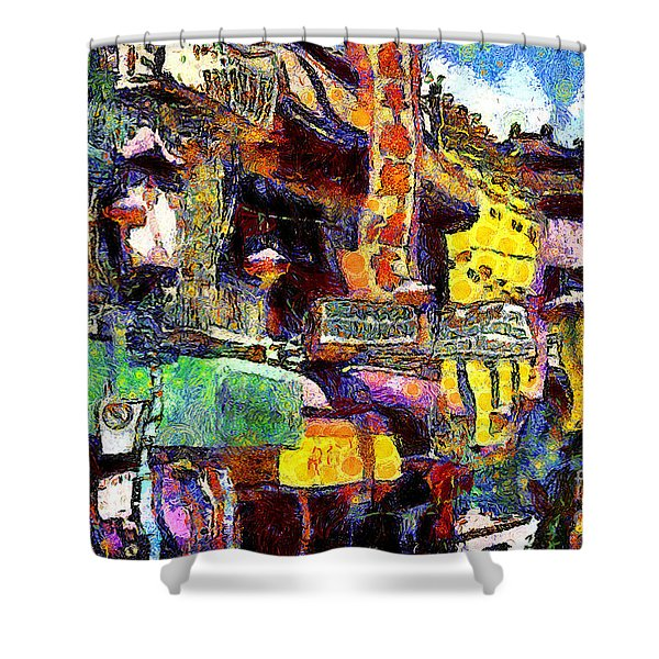 Van Gogh Meets Up With The Screamer in San Francisco Chinatown . 7D7174 Shower Curtain by Wingsdomain Art and Photography