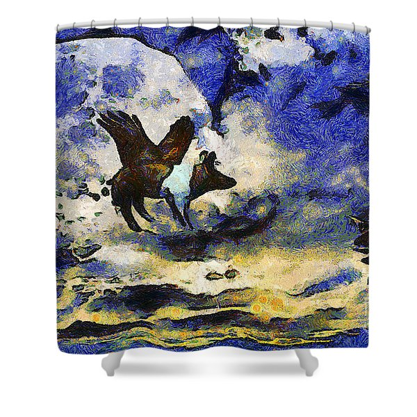 Van Gogh.s Flying Pig 2 Shower Curtain by Wingsdomain Art and Photography