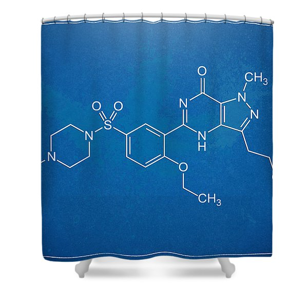 Viagra Molecular Structure Blueprint Shower Curtain by Nikki Marie Smith