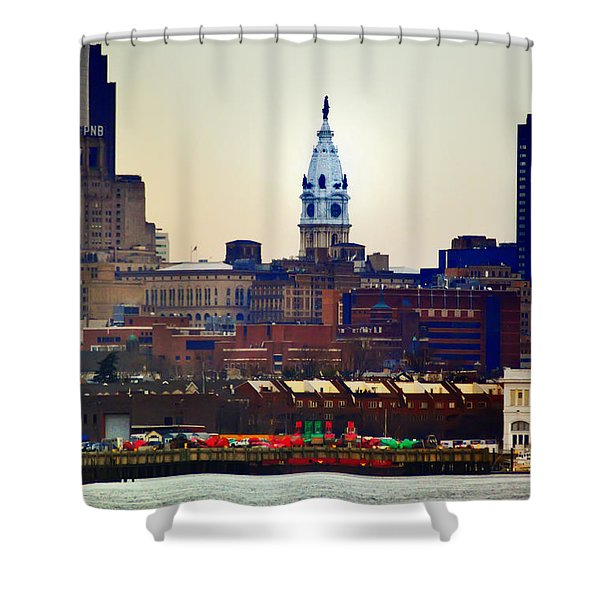 View Of Philadelphia City Hall From Camden Shower Curtain by Bill Cannon