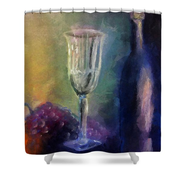 Vino Shower Curtain by Michelle Calkins