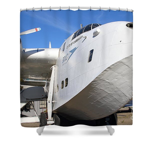 Vintage Boac British Overseas Airways Corporation Speedbird Flying Boat . 7d11255 Shower Curtain by Wingsdomain Art and Photography