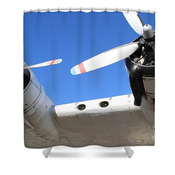 Vintage BOAC British Overseas Airways Corporation Speedbird Flying Boat . 7D11260 Shower Curtain by Wingsdomain Art and Photography