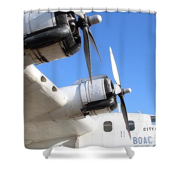 Vintage Boac British Overseas Airways Corporation Speedbird Flying Boat . 7d11265 Shower Curtain by Wingsdomain Art and Photography