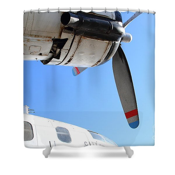 Vintage BOAC British Overseas Airways Corporation Speedbird Flying Boat . 7D11270 Shower Curtain by Wingsdomain Art and Photography