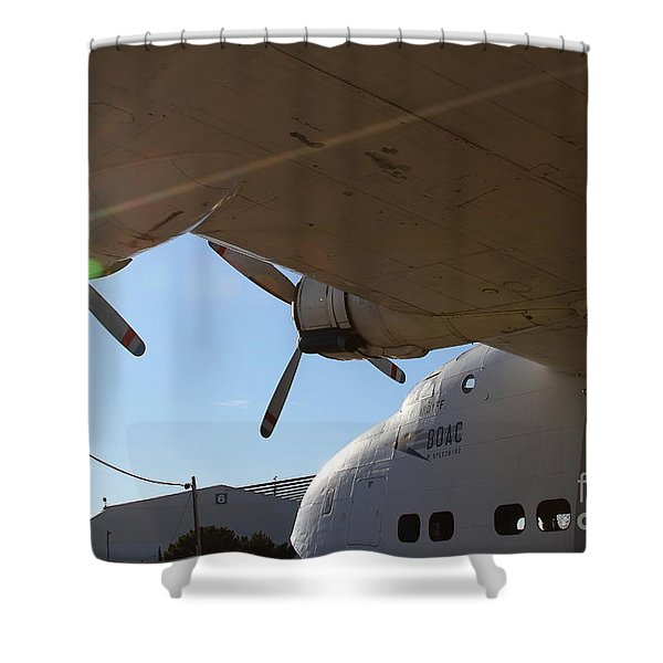 Vintage BOAC British Overseas Airways Corporation Speedbird Flying Boat . 7D11286 Shower Curtain by Wingsdomain Art and Photography