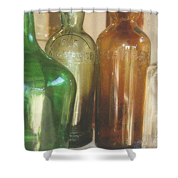 Vintage bottles Shower Curtain by Nomad Art And  Design