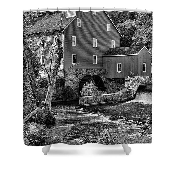 Vintage Mill in Black and White Shower Curtain by Paul Ward